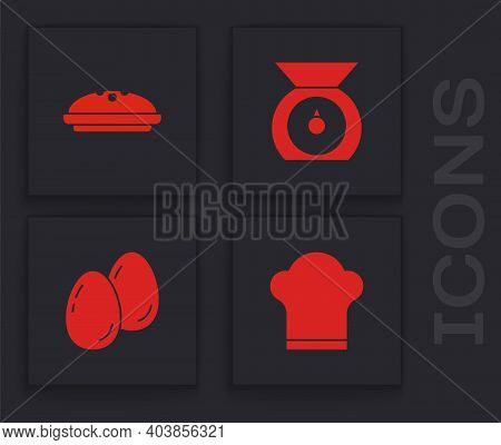 Set Chef Hat, Homemade Pie, Scales And Easter Eggs Icon. Vector