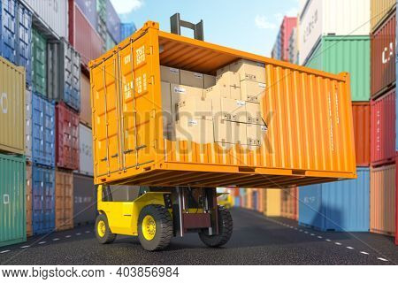Cargo, shipment, delivery, logistics and freight transportation service. Cross section of  container with cardboard boxes loading by forklift in warehouse. 3d illustration