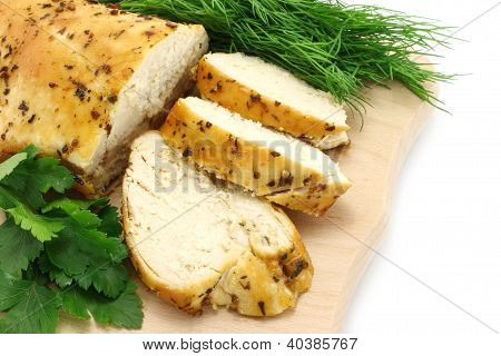 Baked chicken with greenary