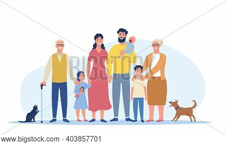 Multigenerational Family Concept. Big Happy Family Standing Together. Grandma, Grandpa, Mom, Dad, Ch