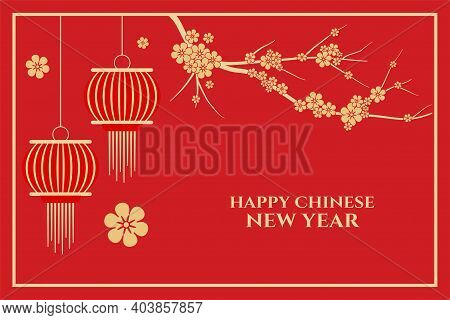 Happy Chinese New Year With Sakura Flowers And Red Background Vector