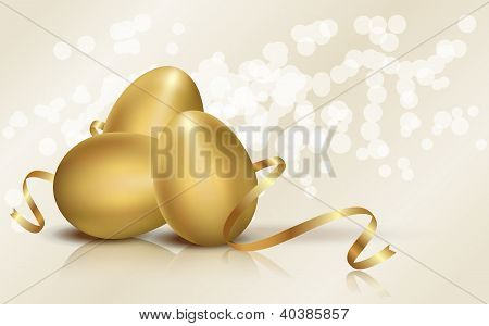 Golden Easter eggs vector illustration