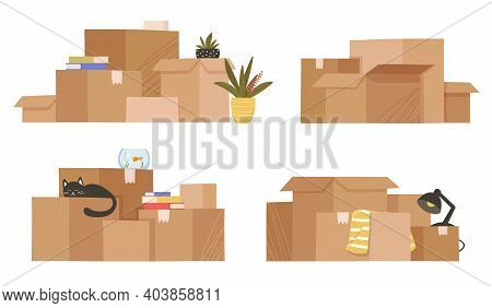 Moving And Relocation Concept. Set Of Four Stacks Isolated On White Background. Cardboard Boxes With