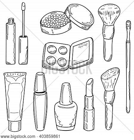 Set Of Makeup Items Outline. Hand Drawing. Vector Illustration In Cartoon Style.