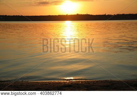 Picturesque View Of Beautiful Sunset On Riverside