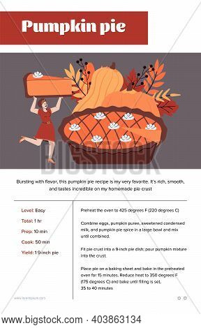 Pumpkin Pie Recipe Card Design With Cartoon Female Character Carrying A Piece Of Cake. Traditional T