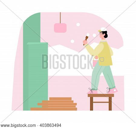 Male House Painter Craftsman With Paintbrush And Bucket With Paint Painting The Walls Indoors. Repai