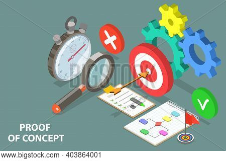 3d Isometric Flat Vector Conceptual Illustration Of Poc - Proof Of Concept.