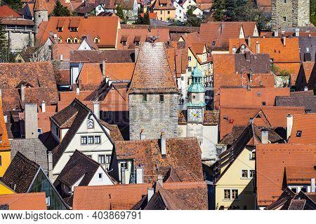 Aerial Of Rothenburg Ob Der Tauber, Bavaria, Germany