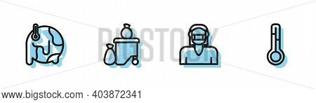 Set Line Face In Protective Mask, Global Warming, Full Dustbin And Meteorology Thermometer Icon. Vec