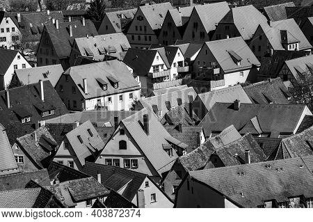 Old Roofs In Rothenburg Ob Der Tauber, Bavaria, Germany