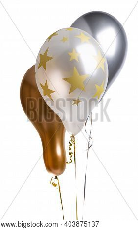 Festive Helium Balloons Isolated On White Background