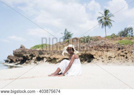 Beautiful African American Girl On Sea Beach