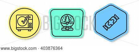 Set Line Vinyl Player With Vinyl Disk, Christmas Snow Globe And Candy. Colored Shapes. Vector