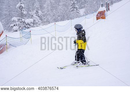 Boy Skiing On Slope, Do A Ski Lesson During A Snowfall Day, Fresh Snow On The Forest During A Snowfa