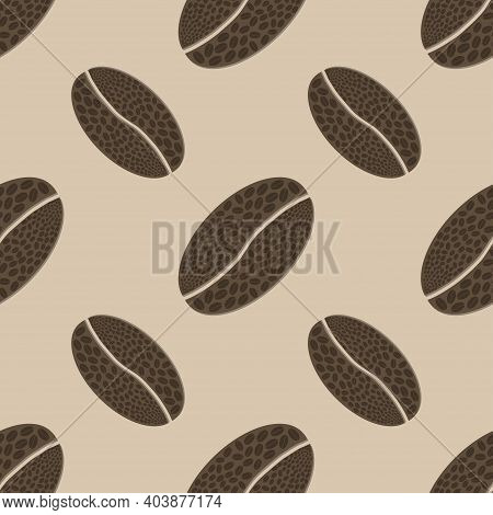 Coffee Beans Seamless Pattern Icon. Abstract Caffeine Symbol. Vector Illustration