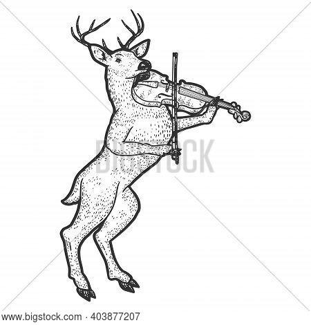 Reindeer Playing Violin. Engraving Vector Illustration. Sketch Scratch