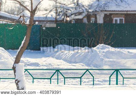 Soft Focus.winter Background.winter Village Street. Traditional Village House And Street In Winter.u