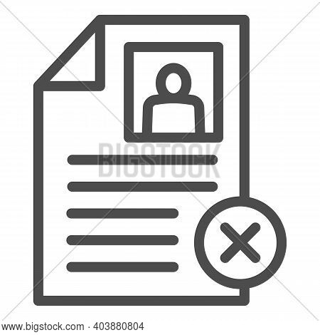 Employee Profile With Cross Line Icon, Black Bookkeeping Concept, Questionnaire With Cancel Sign On