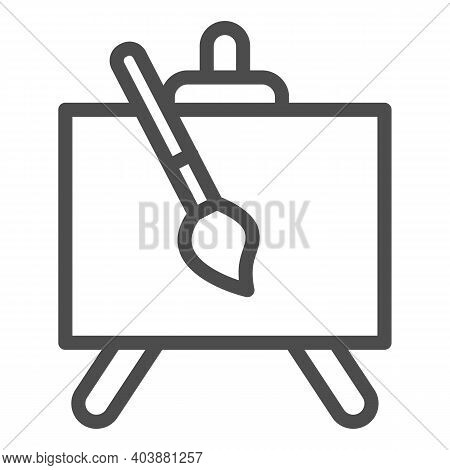 Easel And Paintbrush Line Icon, Creation Concept, Easel And Paintbrush Sign On White Background, Eas