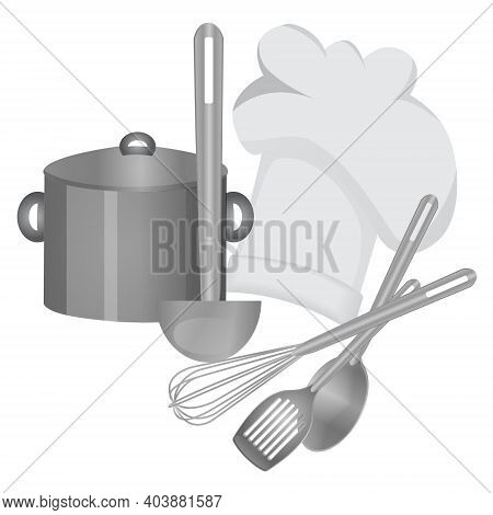 Cooking Tools, Chef Hat And A Saucepan Isolated Monochrome Vector Illustration
