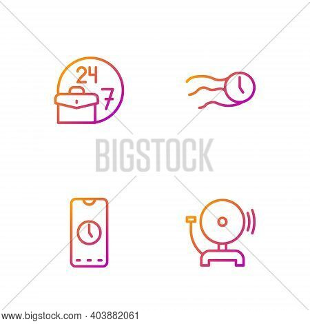 Set Line Ringing Alarm Bell, Alarm Clock App Mobile, Always Busy And Time Flies On The. Gradient Col