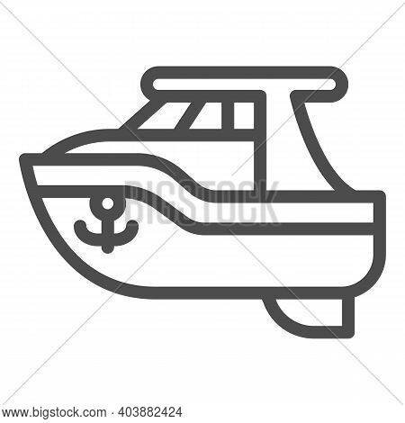 Boat Toy Line Icon, Kid Toys Concept, Ship Sign On White Background, Plastic Toy Sailboat Icon In Ou