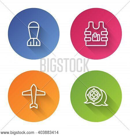 Set Line Aviation Bomb, Bulletproof Vest, Jet Fighter And Target Sport. Color Circle Button. Vector