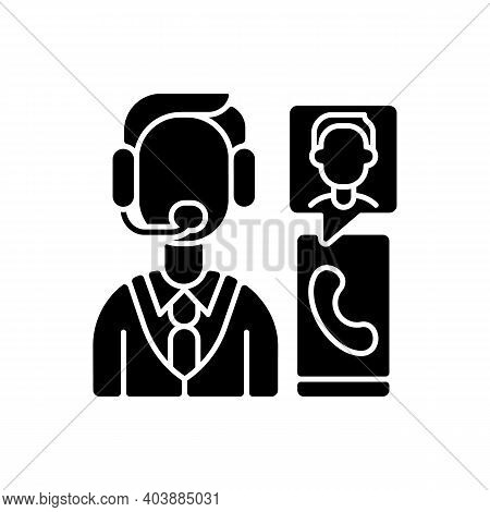 Customer Service Department Black Glyph Icon. Support Professionals. Providing Speedy, Effective Res