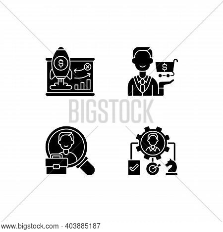 Corporate Structure Black Glyph Icons Set On White Space. Business Model. Buying Goods And Products.