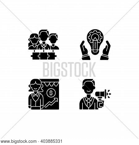 Hierarchical Org Structure Black Glyph Icons Set On White Space. Teamwork, Collaboration. Developmen