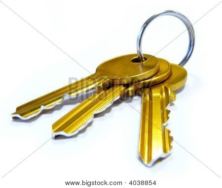 3 Golden Keys On Keyring