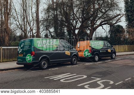 London, Uk - January 01, 2021: Zipcar Vans Parked On A Street In Muswell Hill, North London. Zipcar