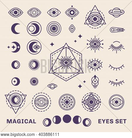 Sacred Geometry Forms With Moon And Sun. Vector Illustration. Geometric Logo Design, Alchemy Symbol,