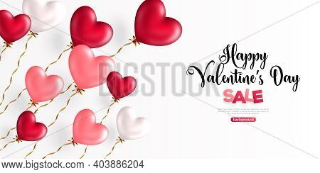 Valentine Day Background With Festive Realistic Heart Shape Balloons With Spiral Ribbons. Vector Ill