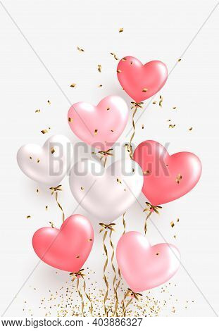 Valentines Day Design. Realistic White And Pink Balloons. Ballon Bunch With Falling Golden Confetti.