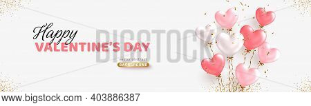 Valentines Day Horizontal Banner Design. Realistic White And Pink Balloons. Ballon Bunch With Golden