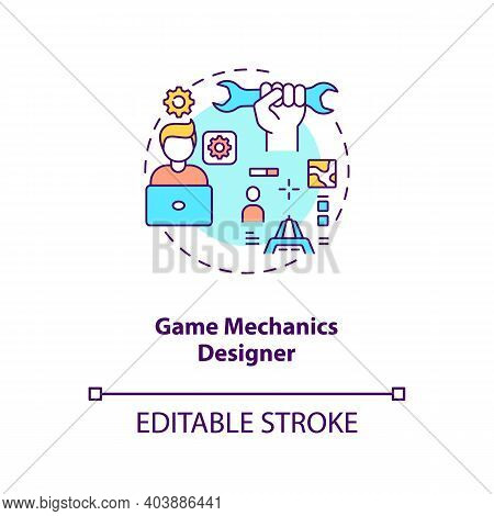 Game Mechanics Designer Concept Icon. Game Designers Types. Responsible For Playing Experience. Empl