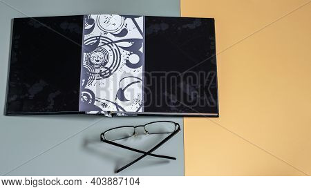 Unfolded Cover Sheet Of Photo Album, Mockup Design With Space For Your Purposes, For Displaying Phot