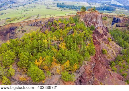 Aerial Volcanic Crater View During Autumn In Romania. Volcanic Activity Took Place In Romanian Carpa