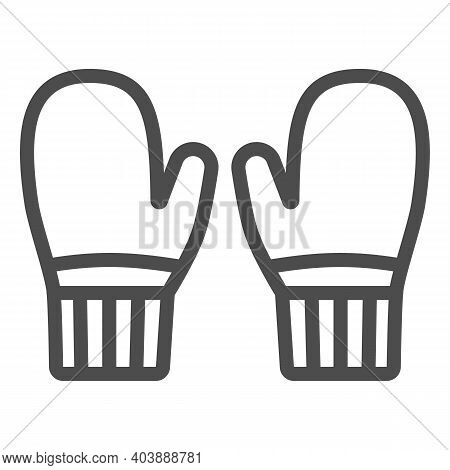 Knitted Mittens Line Icon, Winter Clothes Concept, Winter Gloves Sign On White Background, Pair Of K