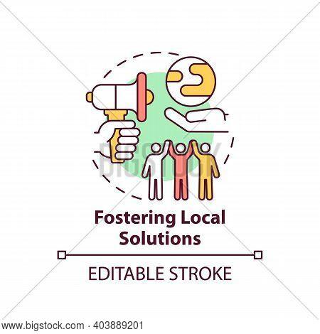 Fostering Local Ecological Solution Concept Icon. Environmental Protection Idea Thin Line Illustrati