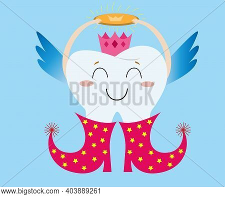 Tooth Fairy Wearing Red Boots With Stars, Crown And Holding Sparkle Coin. Tooth Fairy Flies And Carr