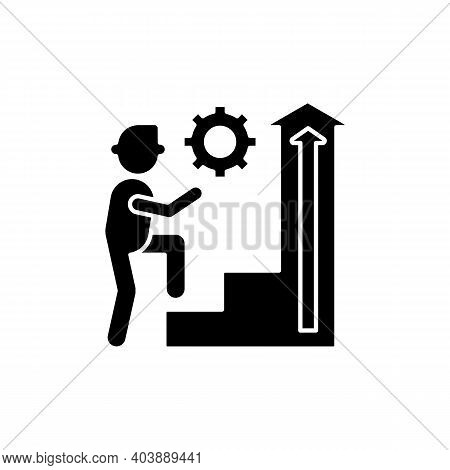 Persistence Black Glyph Icon. Determination In Work. Business Improvement. Company Leadership. Proje