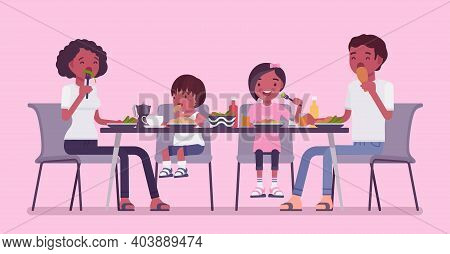 Happy Black Family Eating Dinner At Table. Parents And Kids Gathering For Food After Work And Study,