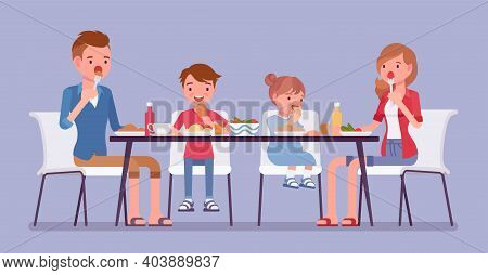 Happy Family Eating Dinner At Home Table. Parents And Kids Gathering For Food After Work And Study,