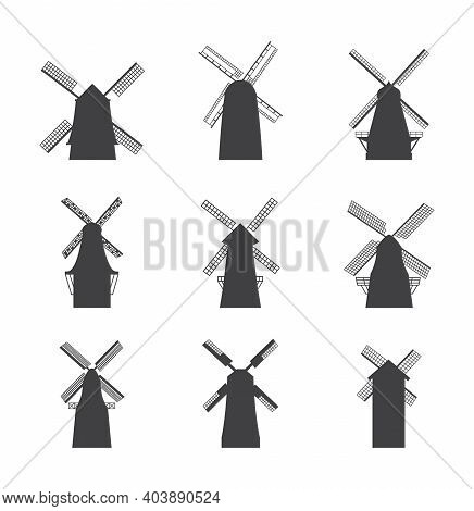 Black Windmill Silhouette Icon Set - Flat Wind Mill Buildings Collection