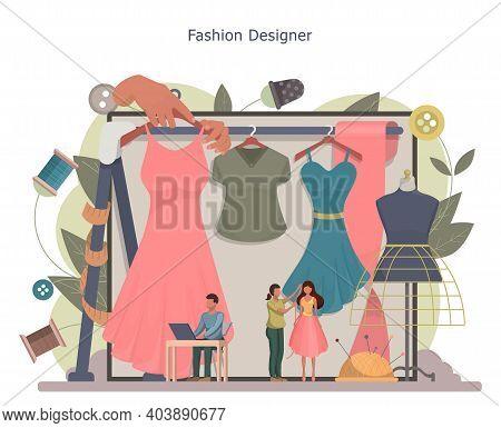 Fashion Designer Or Tailor Concept. Tiny Tailor Masters Taking Measurement. Creative Atelier Profess