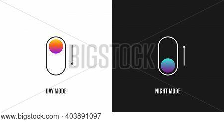 Day And Night Mode. Dark Mode Icon Concept. App Interface Design Concept. Dark Mode Switch Icon. Vec