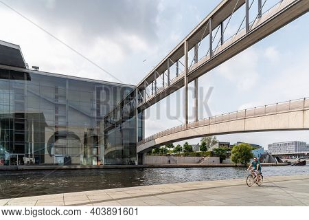 Berlin, Germany - July 30, 2019: Scenic View Of Government District Along Spree River With Reichstag